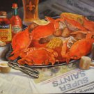 Saints Seafood  New Orleans Art Print Matted Print Baltas Crabs