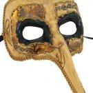 Venetian Mask Zanni Long Nose Ivory & Green Eyes Mardi Gras Costume Party