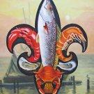 Fleur de Lis Trout & Seafood New Orleans Baltas Matted Art Print French Quarter