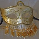 Venetian Mask Veil White & Gold Prom Mardi Gras Masquerade Costume Party