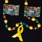 SUPPORT OUR TROOPS YELLOW RIBBON Mardi Gras Beads USA