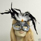 Silver & Black Bead Glitter Feather Masquerade Mask