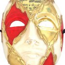 Venetian Full Mask Red & Gold Diamond Musical Score Masquerade Costume Party