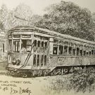 St Charles Street Car Don Davey New Orleans Matted Art Print Famous Scene 1976