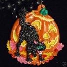 Orange Pumpkin Black Cat Halloween Party Bead Necklace