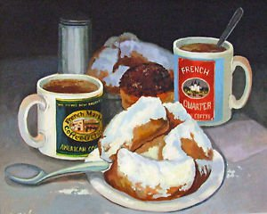 French Market Coffee and Biegnets New Orleans Art Print Matted Print Baltas