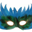 Venetian Feather Mask Aqua Blue with Green Mardi Gras Costume Prom Masquerade