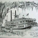 Steamer Natchez Don Davey New Orleans Matted Art Print Famous Scene