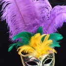SHOWGIRL OSTRICH Feather Mask Green Metallic Costume