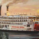 American Queen Riverboat New Orleans Baltas Matted Art Print Louisiana