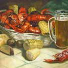 Crawfish Boil with Beer Mug New Orleans Baltas Matted Art Print Jackson Square