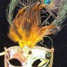 Venetain Mask Metallic Gold Peacock Feather HALLOWEEN