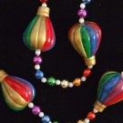 Hot Air Balloon Multi Color Mardi Gras Necklace Beads
