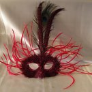 Feather Mask Carnival Red Mardi Gras Masquerade Ball Decor Party Prom