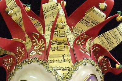 JESTER Halloween MASK Music Ribbons Bells Purple Heart