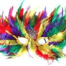 Venetian Rainbow Feather Mask Gay Pride Mardi Gras Costume Prom Masquerade