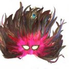 Feather Mask Flame Hot Pink Mardi Gras Masquerade Ball Decor Party Prom