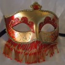 Venetian Mask Veil Red & Gold Prom Mardi Gras Masquerade Costume Party