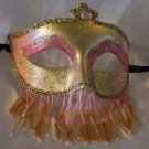 Venetian Mask Veil Pink & Gold Prom Mardi Gras Masquerade Costume Party
