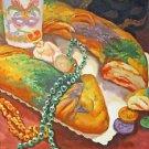 King Cake Mardi Gras Beads New Orleans Baltas Matted Art Print French Quarter