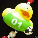 SOCCER SQEAKY Rubber Duck Mardi Gras Beads DUCKS FUNNY