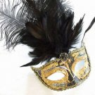 SHOWGIRL OSTRICH Feather Mask Antique Black Masquerade