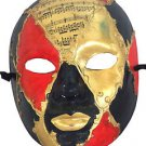 Venetian Full Mask Red & Gold Musical Score Masquerade Ball Costume Party