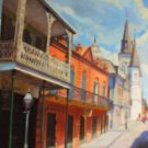 French Quarter Street New Orleans Art Matted Print