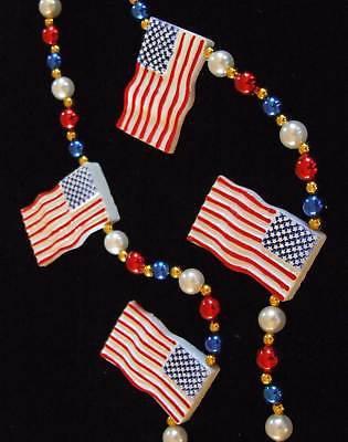USA US Flag Mardi Gras Beads American Flags Tea Party