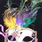 HALLOWEEN Mask Metallic Purple Peacock Feather Lady