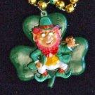 IRISH Leprahchaun Pipe Clover Mardi Gras Bead Necklace