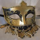 Venetian Mask Veil Black & Gold Prom Mardi Gras Masquerade Costume Party