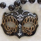 Black Venetian Mask Mardi Gras Beads New Orleans Gold