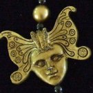 GOLD BUTTERFLY FACE Golden Mardi Gras Necklace Beads