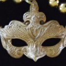 Golden Venetian Mask Mardi Gras Beads New Orleans Party
