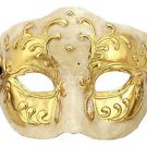 Half Face Mardi Gras Mask Gold & Ivory Antique Costume