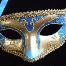 Venetian Mask Blue and Gold Mardi Gras New Orleans Halloween Masquerade