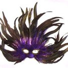 Feather Mask Flame Purple Mardi Gras Masquerade Ball Decor Party Prom