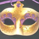 Mardi Gras Party Mask Purple & Gold with Purple Jewel