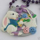 Easter Bunny & Basket Mardi Gras Bead Necklace New Orleans Holiday Party