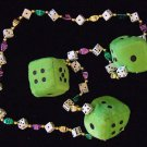 Green Fuzzy Dice Craps Mardi Gras New Orleans Beads Necklace Party Casino