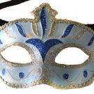 Venetian Eye Mask Blue & Silver Costume Prom Party Mardi Gras New Orleans
