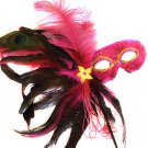 Pink Feather Wand Mask Masquerade Ball Mardi Gras Party Lady Costume Prom