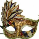 Venetian Mask Cascade Red & Blue Harlequin Halloween Mardi Gras Costume Party