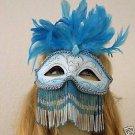 Venetian Mask Bead Veil Feather Jewel HALLOWEEN Blue