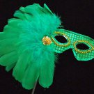 Emerald Island Masquerade Ball Mardi Gras Wand Mask Masquerade Feather Prom