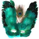 Venetian Feather Mask Emerald Green Butterfly Mardi Gras Halloween Prom