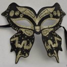 GOTH BUTTERFLY BLACK & SILVER Venetian Mask New Orleans Mardi Gras Prom Party