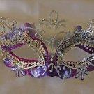 Purple & Silver Metal Eye Mask Venetian Mardi Gras Costume Party New Orleans