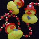 NEW Fireman Firefighter Duck Rubber Ducky Mardi Gras Deluxe Party Bead Necklace